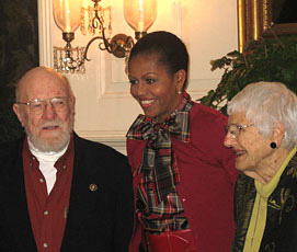 First Lady Michelle Obama visits with Eric and Gloria Sundback when they deliver the 2009 White House Christmas Tree from Dan and Bryan's Christmas Trees.